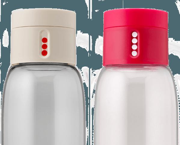 bouteille d'eau design avec bouchon intelligent